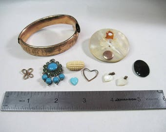 Lot of Vintage Jewelry Parts and Pieces for Repair - Re-purpose - As Is