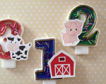Farm, Barn, Pig, Cow Birthday Party Number Candle
