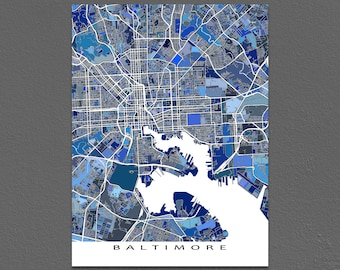 Baltimore Map, Baltimore MD Poster, USA City Street Map, Maryland