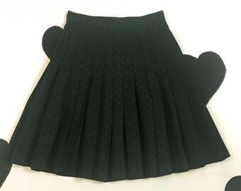 """90's GAP preppy schoolgirl pleated skirt 1990's high 27"""" waist forest green polka dot printed prim prep flapper secretary mini skirt size M"""