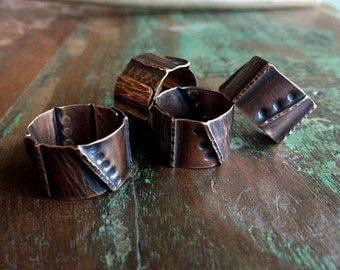 Foldformed Copper Ring - Handmade forged, hammered, textured, adjustable copper ring with patina (wide, cuff ring, statement ring)