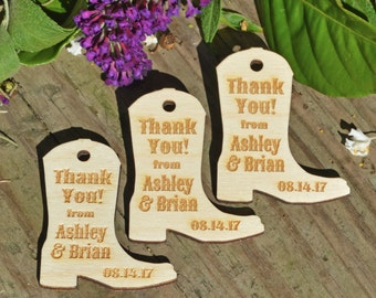 Wooden Boot Favor Gift Tags, Thank You Tags, Laser Cut Favors, Wedding Favor Tags