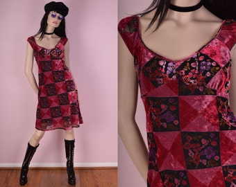 90s Does 70s Crushed Velvet Floral Burnout Dress/ US 7/ 1990s