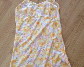 Vintage 90's Slightly Sheer Scallop Hem Yellow Rose Slip Dress Lingerie XS