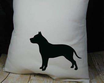 Pit Bull Kissen Abdeckung natürliche Farbe Leinwand mit schwarzen Pit Bull Form 18 x 18 Zoll-Cover auf Bestellung gefertigt