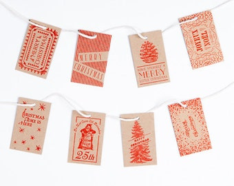 Letterpress Christmas Gift Tags / Red