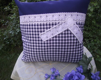 Pillow, blue white checkered Pillow, maritim, Lacepillow, 16x16 inch, Women, living Room, College, Boho