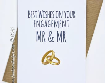 Gay Wedding Card Engagement Mr & Mr