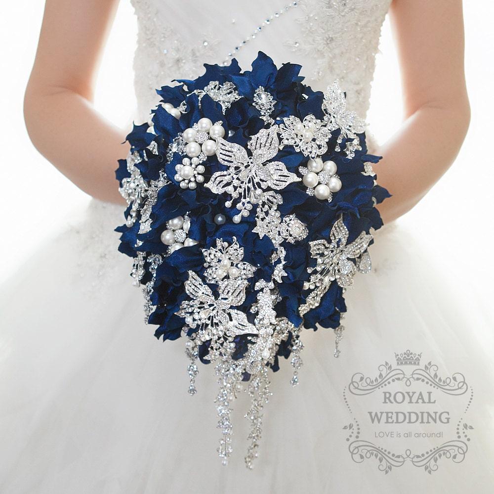 Navy Blue Cascade Brooch Bouquet Silver Crystal Pearl Wedding