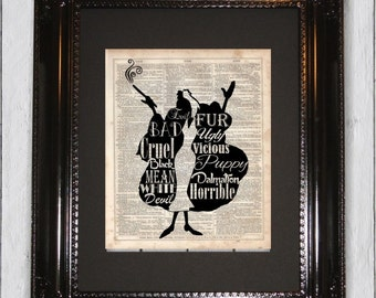 Cruella De Ville, Dictionary Art Print, Upcycled Book Art, Silhouette, dictionary page Wall Decor, Wall Hanging, Mixed Media Art