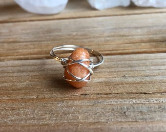 Emotional Healing Stone** Orange Calcite & Sterling Silver Size 7 Wire Wrap Ring