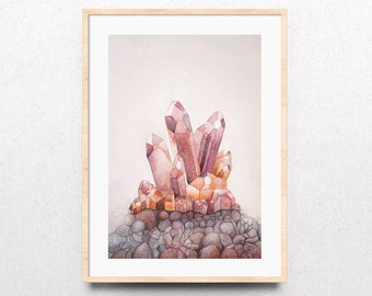 Crystal Watercolor Print, Crystal Art Print, Crystal Cluster Art, Crystal Cluster Watercolor Art Print, Giclee Watercolor Painting