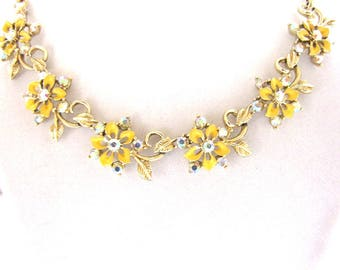 Vintage Necklace Bracelet Set Designer 1950s Rhinestone Enamel Floral from AllieEtCie