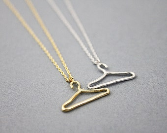 Gold and Silver Tiny Hanger Charm Necklace. Simple and Modern Necklace. Dainty Hanger Necklace. Everyday Jewelry.