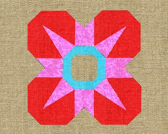 Sweet Flower paper pieced quilt block pattern PDF