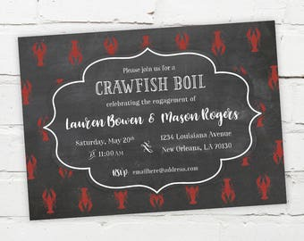 Printable Digital File - Crawfish Boil Invitation - Customizable - Chalk, Chalkboard, Engagement Party, Birthday, Shower, Crayfish, Seafood
