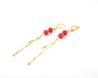 ELLA - Gold filled Long Earrings and Semi-Precious Stones
