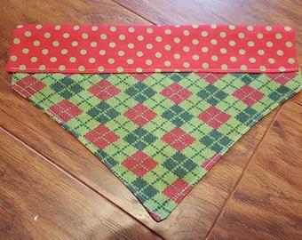 Argyle Sock Christmas Dog Bandana