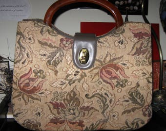 Vintage 1960s Floral Fabric Purse with Amber Lucite Handle