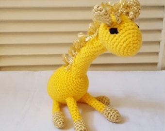 Crochet Giraffe Stuffed Animal / Yellow and Gold/ Crochet Doll / Amigurumi Toy/ Handmade Toys/ Gift For Kids/ Plushie Zoo Animals