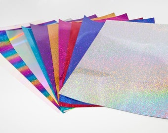 """Siser HOLOGRAPHIC Easy Weed Easyweed Heat Transfer Vinyl HTV Iron On by the Sheet 10"""" x 12"""" or 12"""" x 20"""""""
