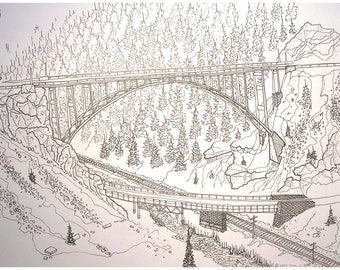 Red Cliff Bridge Ink Drawing Digital Print