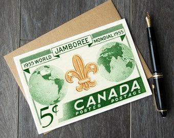 Canada Boy Scout Jamboree, Vintage Boy Scout postcard, vintage Canadiana greeting card, Canada Boy Scout birthday card, canada cottage decor
