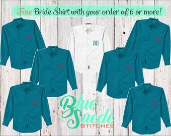 Monogram Button Down Shirts 6 or more - Bridesmaid oxford shirts | monogrammed oxford shirts | getting ready shirts | bridal party gifts