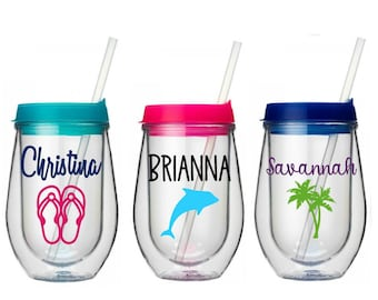 Beach Tumbler, Beach Vacation Wine Cup, Bev2Go Stemless Wine Tumbler