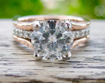 Forever One Moissanite Engagement Ring in Platinum with Natural Diamonds and 14K Rose Gold Wedding Band Wrap Around Size 5