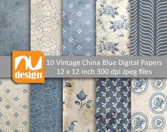 "10 Vintage China Blue Digital Scrapbooking Paper Patterns - 12x12"" HiRes 300dpi files"