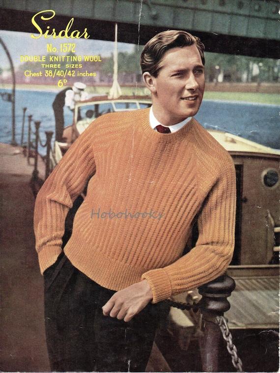 Mens Knitting Pattern pdf download Mens Ribbed Sweater Round