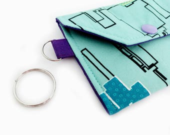 Minimalist Thin Keychain Snap Wallet - Mint Green Cityscapes / Grape Punch