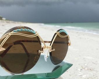 Bronze Oversized Round sunglasses Women, Artisan Gold Turquoise Wire Wrap, Ooak, Retro Bold Art Deco Sunglasses Sunnies Eyewear Eyeglasses