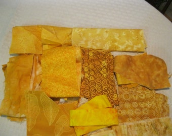 Stash-Buster Yellow Cotton Quilting Fabric Scraps #2