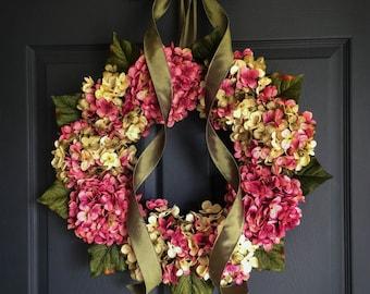 Blended Hydrangea Wreath | Front Door Wreaths | Shabby Chic | Spring Wreath | Pink Wreath | Door Wreath | SPRING Wreaths for Door