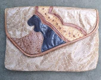 Vintage 80s - Reem - Clutch  - Patchwork Leather Bag - Beige Brown Black - Reptile Purse