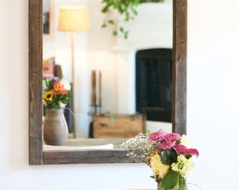 Rustic Wood Mirror, Spanish Style Mirror, Wood Mirror, Rustic Wall Mirror,  Large Wall Mirror, Vanity Mirror, Bathroom Mirror, Rustic Mirror