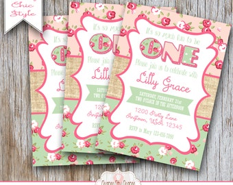 First birthday invitation shabby chic 1st birthday photo shabby chic first birthday invitation shabby chic birthday invitation pink and green floral inv 021 filmwisefo