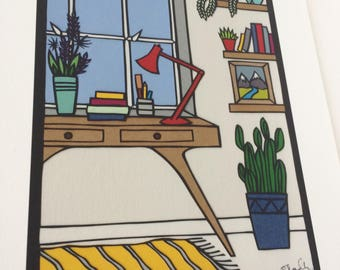 Home Office - Print from original papercut art