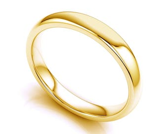 Solid 14K Yellow Gold 3mm Wedding Band, Polished Domed, Anniversary or Wedding Band, Comfort Fit Ring, Thick Classic Wedding Band