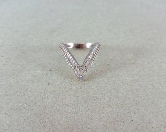 Sterling Silver Ring, Silver Ring, Rose Gold Ring, Crystal Ring, Sterling Ring, Triangle Ring, Valentine