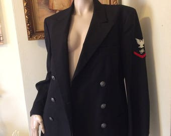 Vintage 70s  U.S. Navy Black Wool  Mens Dress Uniform Sport coat Blazer Size Medium 38R