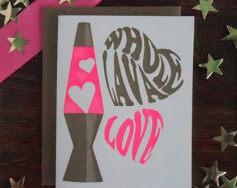 letterpress whole lava love pink gold hearts lava lamp love valentine hot pink