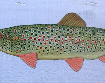Watercolor on wood brown trout