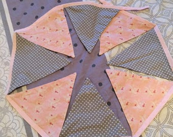 FABRIC BUNTING PINK AND GRAY