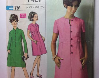Vintage 60's Simplicity 7427 Mandarin Collar Misses' Step In Dress Pattern Size 12 Bust 34 Cut