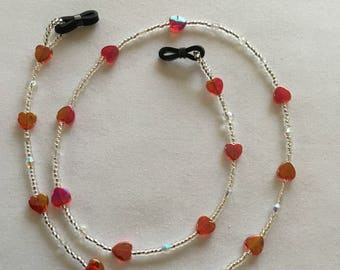 Shiny red heart beaded glasses chain