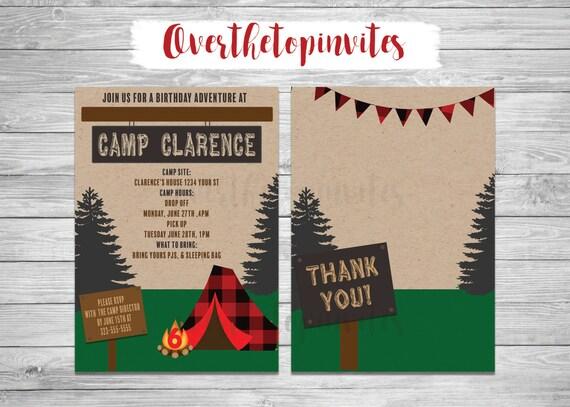 Summer camp Invitation Camping Invitation Adventure
