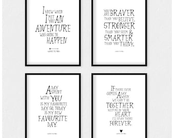 SALE! Winnie the Pooh quote prints nursery decor, inspirational Pooh quote kids wall art, disney winnie the pooh poster set of 4, ET_19